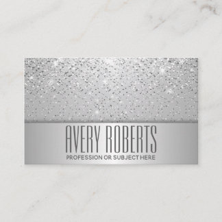 Classy  Modern Luxury Sparkle Silver glitter Business Card