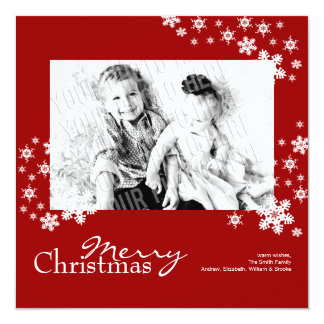 Classy Modern Red Snowflakes Photo Christmas Card