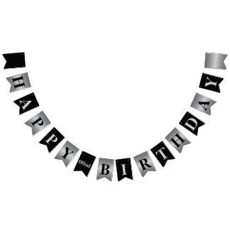Classy Modern Silver and Black Birthday Banner