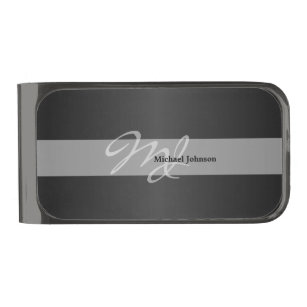 Diy money clips credit card holders zazzle classy monogram and with diy name design gunmetal finish money clip solutioingenieria Image collections