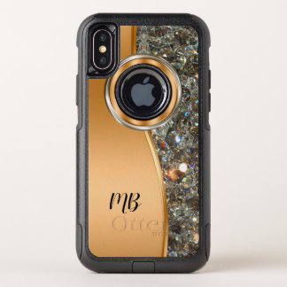Classy Monogram Design Bling OtterBox Commuter iPhone X Case