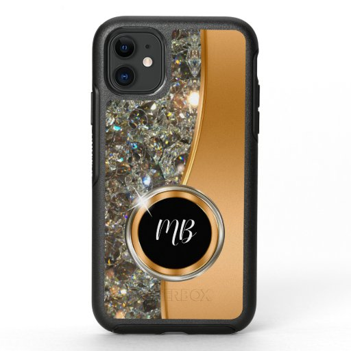 Classy Monogram Faux Jewel Bling OtterBox Symmetry iPhone 11 Case