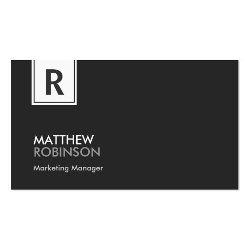 Classy Monogram - Modern Black and White Business Card Template (front side)