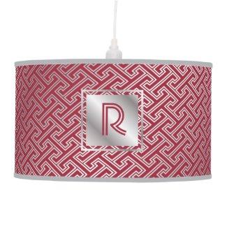 Classy Monogram Red Silver Interlocking Pattern