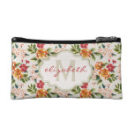 Classy Monogram Vintage Victorian Floral Flowers Cosmetics Bags