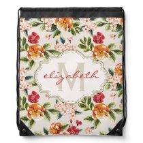 Classy Monogram Vintage Victorian Floral Flowers Drawstring Backpack