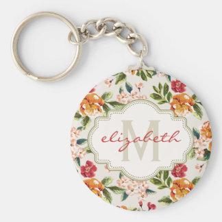 Classy Monogram Vintage Victorian Floral Flowers Basic Round Button Keychain