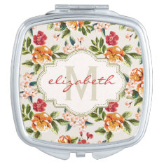 Classy Monogram Vintage Victorian Floral Flowers Mirror For Makeup at Zazzle