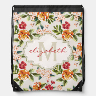 Classy Monogram Vintage Victorian Floral Flowers Drawstring Bags