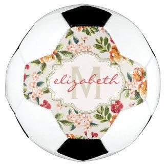 Classy Monogram Vintage Victorian Floral Flowers Soccer Ball