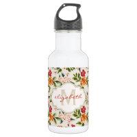 Classy Monogram Vintage Victorian Floral Flowers Stainless Steel Water Bottle
