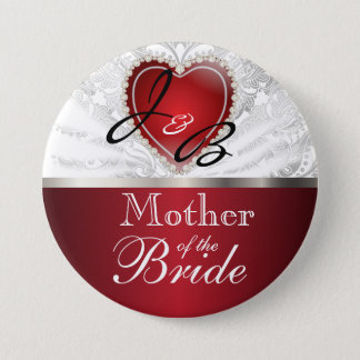 Classy Monogram Wedding Party - red heart Button
