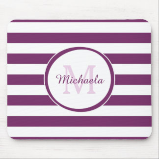 Classy Monogram With Broad Bright Purple Stripes Mouse Pad