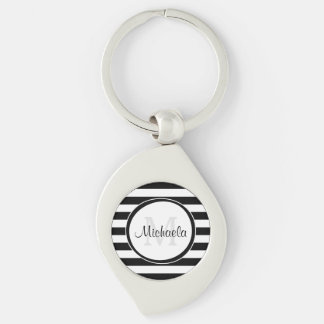 Classy Name With Chunky Black and White Stripes Keychain