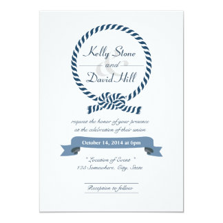 Classy Nautical Rope Ring Wedding Invitations