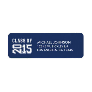 Classy Navy Blue and White Class of 2015 Return Address Label