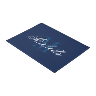 Classy navy blue and white monogrammed door mats