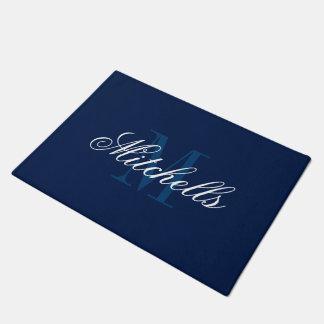 Classy navy blue and white monogrammed door mats doormat