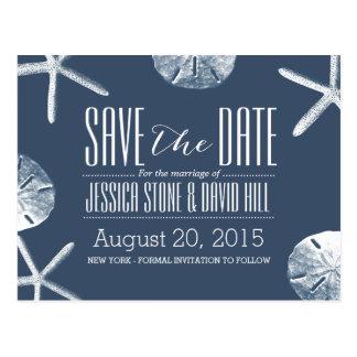 Classy Navy Blue Beach Theme Wedding Save the Date Postcard