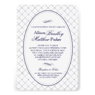 Classy Navy Blue Check Pattern Wedding Invitation