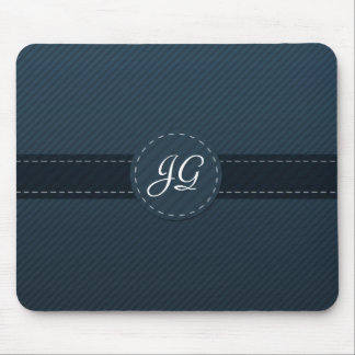 Classy Navy Blue Custom Monogram - Striped Pattern Mouse Pad