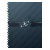 Classy Navy Blue Custom Monogram - Striped Pattern Notebook