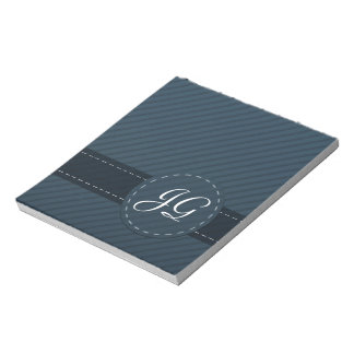 Classy Navy Blue Custom Monogram - Striped Pattern Memo Note Pads