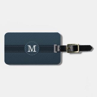 Classy Navy Blue Custom Monogram - Striped Pattern Tag For Luggage