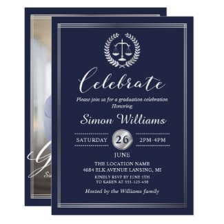 Classy Navy Blue Law School Graduation Party Photo Invitation