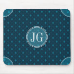 Classy Navy Blue & Teal Geometric Custom Monogram Mouse Pad