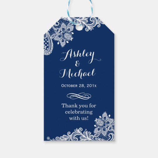 Wedding Thank You Gift Tags: Classy Navy Blue White Lace Wedding Thank You Gift Tags