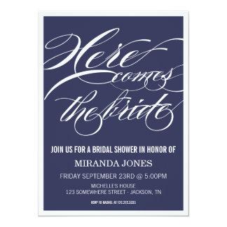 Classy Navy Bridal Shower Invitations