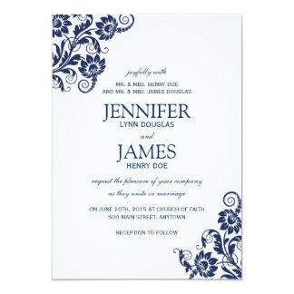 Classy Navy Floral Wedding Invitations