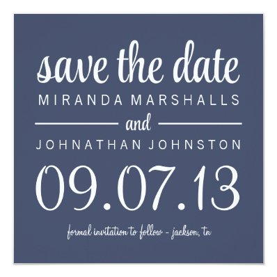Classy Navy Photo Save The Date Invites