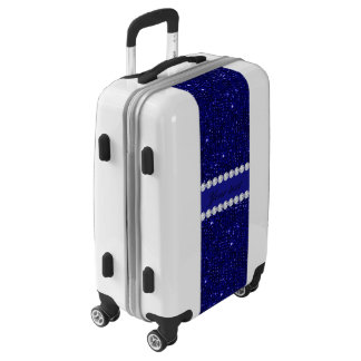 Classy Navy Sequins and Diamonds Personalized Luggage