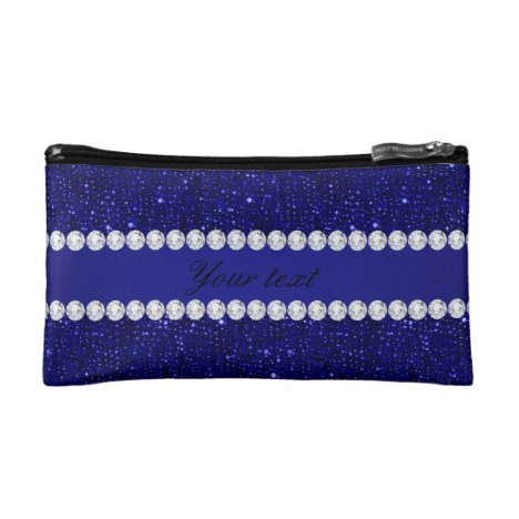 Classy Navy Sequins and Diamonds Personalized Makeup Bag