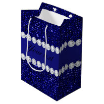 Classy Navy Sequins and Diamonds Personalized Medium Gift Bag