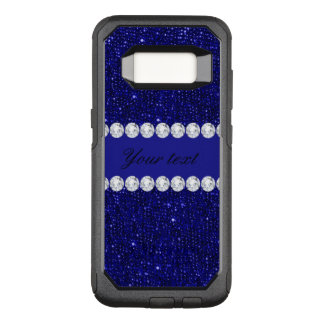 Classy Navy Sequins and Diamonds Personalized OtterBox Commuter Samsung Galaxy S8 Case