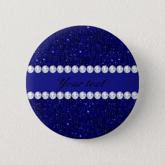 Classy Navy Sequins and Diamonds Personalized Pinback Button