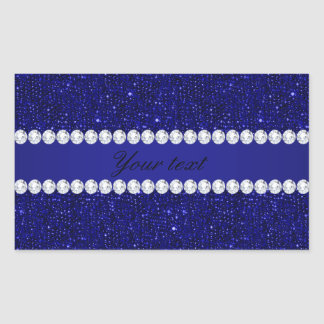 Classy Navy Sequins and Diamonds Personalized Rectangular Sticker