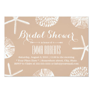 Classy Neutral Beach Theme Seashells Bridal Shower Card