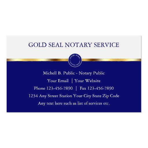 Classy notary public business cards zazzle for Examples of notary public business cards
