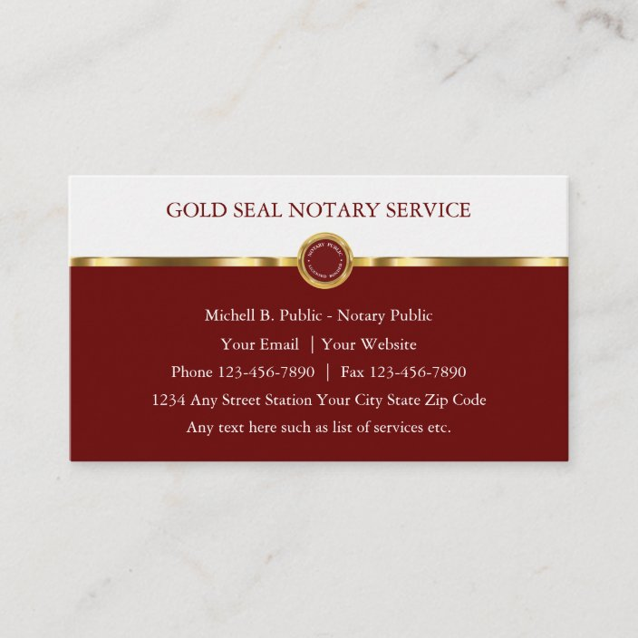 Notary Public Upscale Business Cards