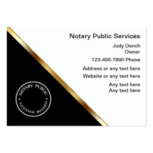 Classy notary service business cards for Notary business card examples