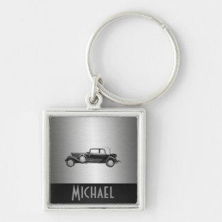 Classy old car silvery keychain