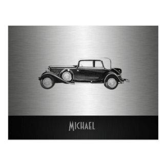 Classy old car silvery postcard
