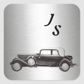 Classy old car silvery square sticker
