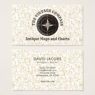 Classy Old Vintage Compass Antiques Dealer Business Card