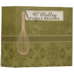 Classy Olive Green Personalized Recipe Binder