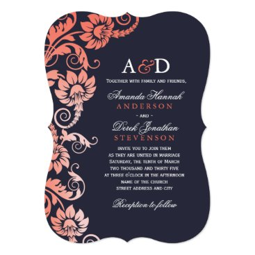 colourfuldesigns Classy Ombre Coral and Blue Wedding Invitations